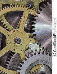 cronometre mecanismo, engrenagens, e, cogs, cima