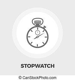 cronometro, appartamento, icona