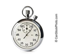 cronometro, bianco, isolato, fondo