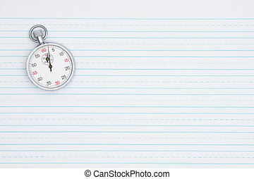 cronometro, carta, retro, foderare