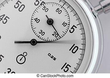 cronometro, closeup., con, uno, spostamento, freccia