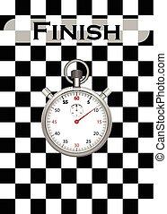 cronometro, con, checkered, correndo bandiera