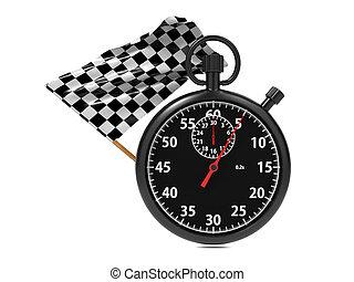 cronometro, con, checkered, flag.
