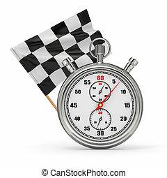 cronometro, con, checkered, flag., inizio, -, finish.