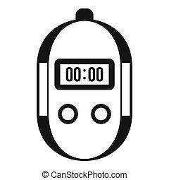 cronometro, icona, stile, semplice