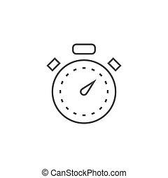 cronometro, linea, icona