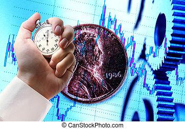 cronometro, moneta, ratchets, mano, meccanico
