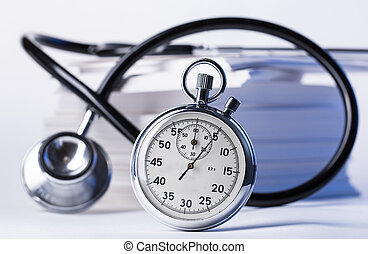 cronometro, mucchio, carta, stetoscopio, cartelle