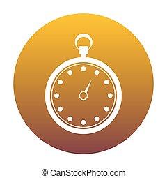 cronometro, segno, illustration., bianco, icona, in, cerchio, con, dorato, gr