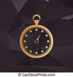 cronometro, segno, illustration., dorato, stile, sullo sfondo, con, polygons.