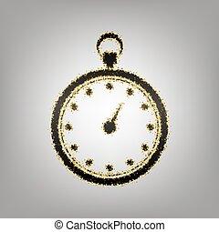 cronometro, segno, illustration., vector., blackish, icona, con, dorato, s