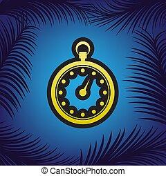 cronometro, segno, illustration., vector., dorato, icona, con, nero, cont