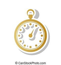 cronometro, segno, illustration., vector., dorato, pendenza, icona, con, w