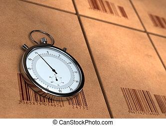 cronometro, sopra, molti, cartone, scatole, con, barecodes,...