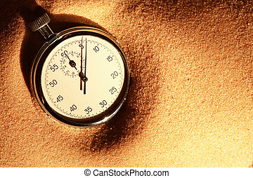 cronometro, su, sabbia