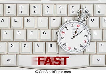 cronometro, su, uno, tastiera, con, testo, digiuno