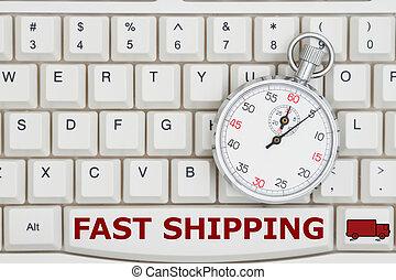 cronometro, su, uno, tastiera, con, testo, digiuno, spedizione marittima, e, uno, camion
