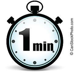 cronometro, vettore, minuto, uno