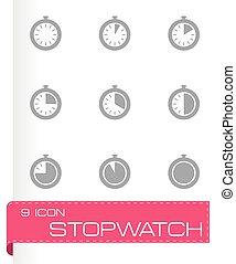 cronometro, vettore, set, icona