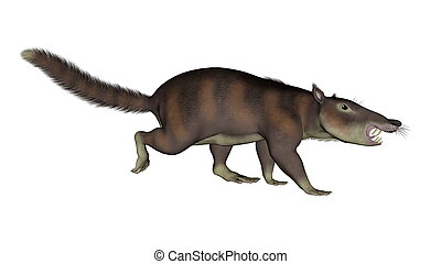 cronopio, dentiacutus, préhistorique, mammifère, -, 3d, render