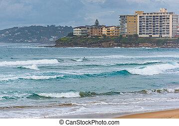 Cronulla suburb with ocean on foreground. Sydney, Australia