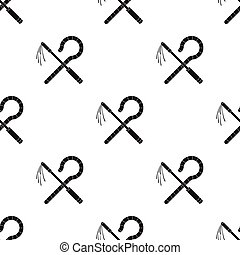 Crook and flail icon in black style isolated on white...