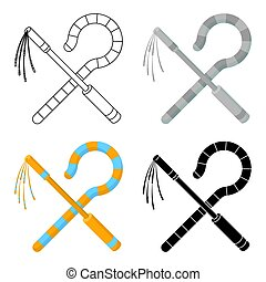 Crook and flail icon in cartoon style isolated on white...