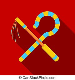 Crook and flail icon in flat style isolated on white...