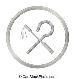 Crook and flail icon in monochrome style isolated on white...