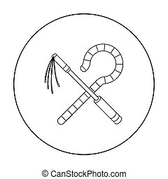 Crook and flail icon in outline style isolated on white...
