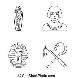 Crook and flail,a golden mask, an egyptian, a mummy in a...