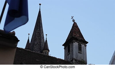 Crooked Cross on the Steeple - Damaged metal cross on the...