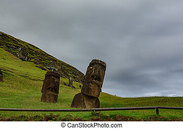 Crooked Moai in quarry bottom view, Rapa Nui - Crooked Moai...