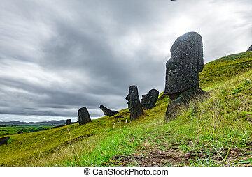 Crooked Moai in quarry, bottom view, Rapa Nui - Crooked Moai...