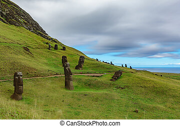 Crooked Moais in quarry, Rapa Nui island - Crooked Moais in...