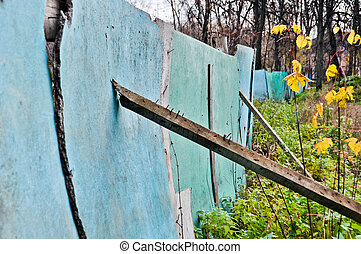 crooked old wooden rustic fence