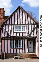 Crooked timber-framed house in Lavenham