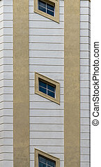 Crooked windows on the building