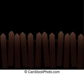 Crooked Wooden Fence Dark Night - Crooked, wooden picket...