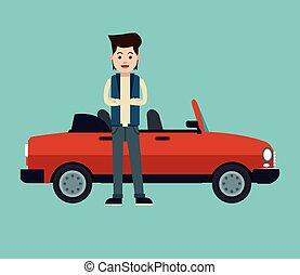 croos, bras, jeune, voiture, élégant, cabriolet, sport, homme
