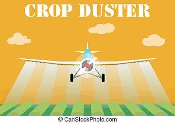 Crop duster airplane spraying a farm field. Vector...