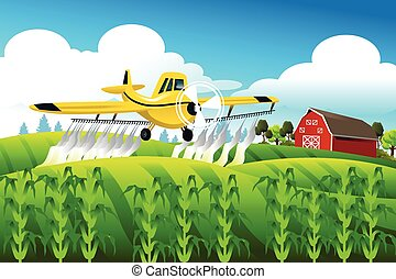 Crop duster flying over a field - A vector illustration of ...