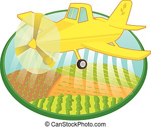 Crop Duster - Cartoon crop duster spraying fields. Eps10