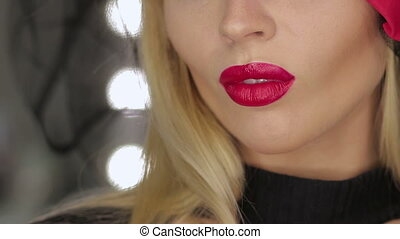 Crop female posing with lips - Crop lady with red lipstick...