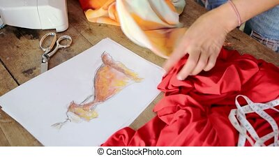 Crop female using cloth sketch - Crop female using sketch...