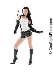 crop games - picture of dominant lady in black leather ...