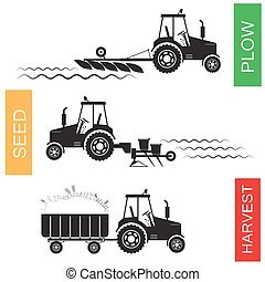 Crop growing and harvesting of agriculture - vector ...
