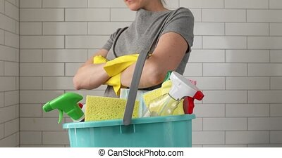 Crop housewife prepared for total house cleaning - Crop...