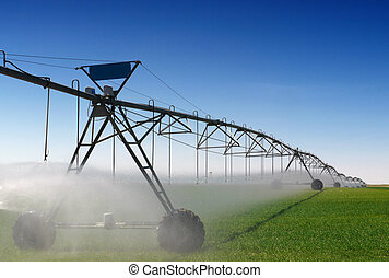 A farm being irrigated with a center pivot sprinkler system