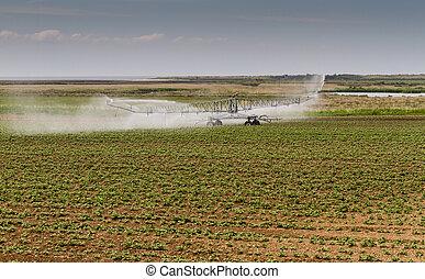 Crop irrigation, Norfolk, England
